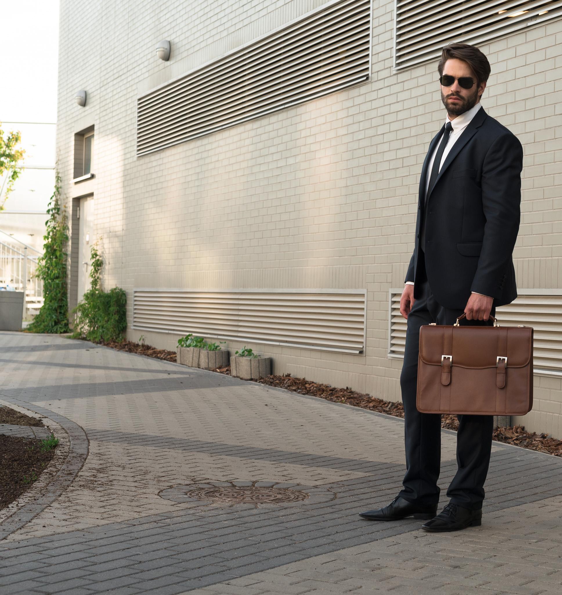 Męska skórzana teczka na spotkanie biznesowe